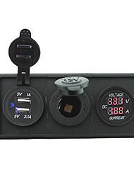 12v / 24v poder charger3.1a porta USB e medidor de amperímetro atual com o painel titular habitação para rv barco caminhão carro (com