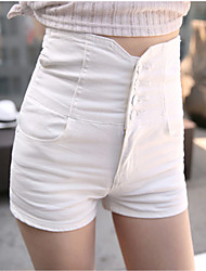 Women's Slim Shorts Pants,Going out Beach Club Sexy Boho Street chic Solid High Rise Zipper Button Others Inelastic Spring Summer