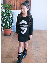 Girl's Casual/Daily Solid Dress,Cotton Winter Fall Long Sleeve