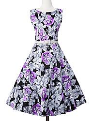 Feminino Bainha balanço Vestido, Formal Festa/Coquetel Férias Vintage Moda de Rua Sofisticado Floral Decote Redondo Altura dos JoelhosSem