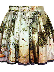Women's A Line Print Skirts,Going out Mid Rise Mini Button Cotton Micro-elastic All Seasons