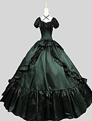 Uma-Peça/Vestidos Gótica Vitoriano Cosplay Vestidos Lolita Preto Cor Única Manga Curta Assimétrico Vestido Para Feminino Náilon