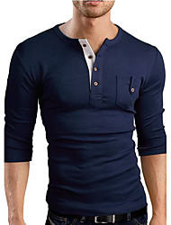 Men's Sports Casual/Daily Simple T-shirt,Solid V Neck Long Sleeve Cotton