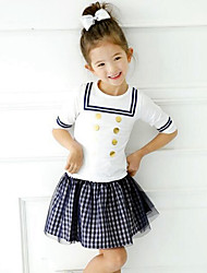 Girls' Summer School Of 7 Minutes Of Sleeve Wind Wave Point Coat Gauze Plaid Skirt 2 Piece