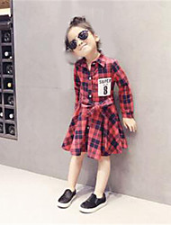 Girl's Casual/Daily Plaid Dress,Cotton Spring / Fall Pink / Red