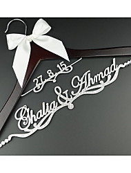 Personalized Wedding Hanger Bridal Hanger with Custom Groom and Bride First Names in Silver Acrylic