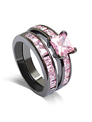 Ring Wedding Party Daily Jewelry Alloy Rhinestone Women Ring 1 pair,6 7 8 9 Pink