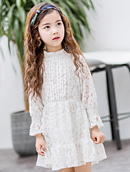 Girl's Cotton Sweet Fashion Daily/Go Out Spring/Fall Solid Color Long Sleeve Flare Princess Dress Children Lace One-piece