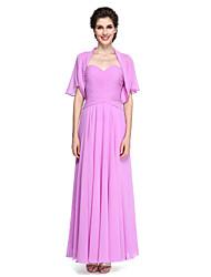 Linha A Decote Princesa Até o Tornozelo Chiffon Vestido Para Mãe dos Noivos - Cruzado de LAN TING BRIDE®