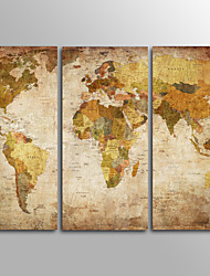 Canvas Set Unframed Canvas Print TraditionalThree Panels Retro World Map  Canvas Horizontal Print Wall Decor For Home Decoration