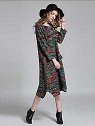 Tee Shirt Robe Femme Grandes Tailles simple,Rayé Col Arrondi Au dessus du genou Acrylique Printemps Automne Taille Normale Micro-élastique