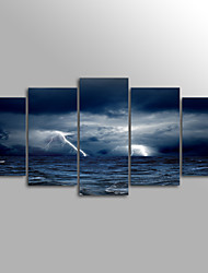 Canvas Print Landscape Modern Lightning StormFive Panels Canvas Horizontal Print Wall Decor For Home Decoration