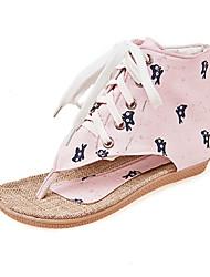 Women's Flats Spring Summer Fall Fabric Dress Casual Party & Evening Flat Heel Chain Lace-up Beige Light Blue Light Pink