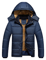 Men's Regular Padded Coat,Simple Active Punk & Gothic Going out Casual/Daily Sports Solid-Polyester Polyester Long Sleeve HoodedBlue