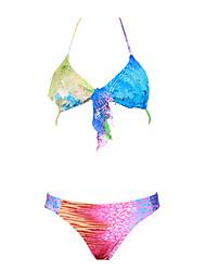 Women's Color Block Push-up Split Type Irregular Multi-color Halter Bikinis