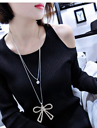 Pendant Necklaces Sweater Chain Jewelry Party Bowknot Double-layer Alloy Rhinestone Women 1pc Gift Silver