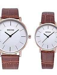 KEZZI Couple's Fashion Watch Wrist watch / Imitation Diamond Quartz Leather Band Cool Casual Black White Brown