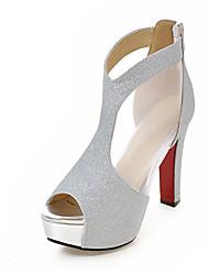 Damen-High Heels-Hochzeit Kleid Party & Festivität-Kunststoff-BlockabsatzGold Schwarz Silber
