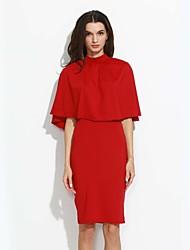 Women's Choker|Ruffle Sexy Spring/Fall T-shirt Skirt Suits,Geometric Crew Neck Sleeveless Red/Black/Brown Cotton/Polyester Medium