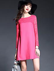 Damen A-Linie Kleid-Ausgehen Einfach Patchwork Rundhalsausschnitt Übers Knie Langarm Rot Polyester Frühling Sommer Mittlere Hüfthöhe