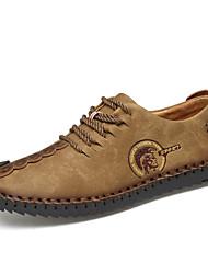 Для мужчин Туфли на шнуровке Для прогулок Удобная обувь Дерматин Весна Лето Осень Зима Повседневные Шнуровка На плоской подошвеЧерный