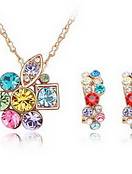 Jewelry 1 Necklace 1 Pair of Earrings Crystal Party Alloy 1set Women Blue Purple Pink Multi Color Wedding Gifts