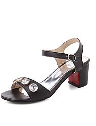 Homme-Bureau & Travail Habillé Décontracté-Noir Blanc-Gros Talon-Bride de Cheville Flower Girl Chaussures Confort-Sandales-Cuir