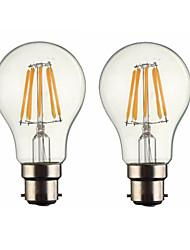 2pcs 5w b22 ha condotto le lampadine del filamento g60 6 cob 500-600 lm dimmable caldo 220-240 ac o ac 110-130 v
