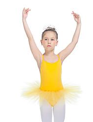 Balé Vestidos Mulheres Crianças Actuação Nailon Tule Licra Cruzadas 1 Peça Sem Mangas Tutus
