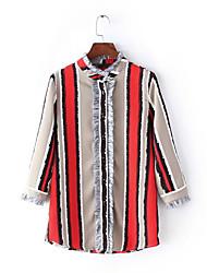 Damen Gestreift Einfach Lässig/Alltäglich T-shirt,Stehkragen Frühling ¾-Arm Rot Kunstseide Mittel