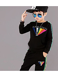 Boy Casual/Daily Solid Sets,Cotton Spandex Winter Fall Long Sleeve Clothing Set
