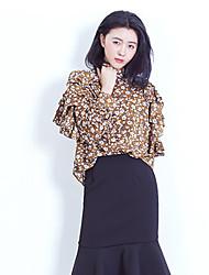 Feminino Blusa Casual Férias Fofo Primavera,Floral Verde Amarelo Poliéster Colarinho Chinês Manga Longa Fina