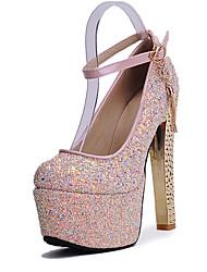 Mujer-Tacón Robusto-Zapatos del club-Tacones-Boda Vestido Fiesta y Noche-Semicuero-Blanco Azul Rosa