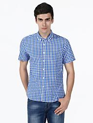 Erkek Orta Pamuklu Kısa Kollu Gömlek Yaka Yaz Kareli Sade Günlük/Sade Mavi Kırmızı-Erkek Gömlek
