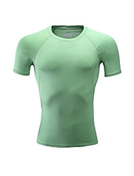 Unisex Short Sleeve Running T-shirt Tops Breathable Comfortable Summer Sports Wear Running LYCRA® Slim Green Solid