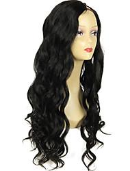 оптовые волнистые upart парик цвет # 1 угольно-черный 1 * 4inch левая часть и разделить человеческие волосы парики 130% плотность