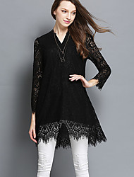 Women's Plus Size Going out Holiday Sexy Vintage Simple Loose Lace Dress,Solid Lace Cut Out V Neck Above Knee Long Sleeve PolyesterRed