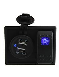 dc 12v / 24v 3.1a numérique conduit prise du chargeur double usb avec interrupteur à bascule fils de cavalier et porte-logement
