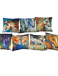 Set of 7 Colored horse pattern  Linen Pillowcase Sofa Home Decor Cushion Cover