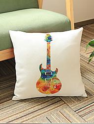 1 pcs Guitar printing Linen Pillow CaseNovelty Modern/Contemporary