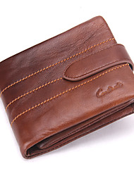 Contacts  Genuine Leather Vintage Man Short Wallet Compact Purse Removable Zipper Coin Bag Casual Office & Career Shopping Cowhide
