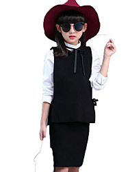 Girl Casual/Daily School Solid Sets,Cotton Spring Fall Long Sleeve Clothing Set