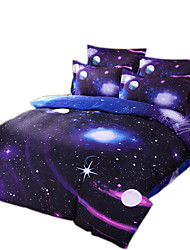 Mingjie 3D Reactive Purple And Blue Bedding Sets 4 Pcs for Queen Size Contain 1 Duvet Cover 1 Bedsheet 2 Pillowcases from China