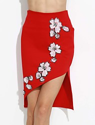 Women's Graceful Bodycon Short Skirt High Waist Drilling Beaded Package  Skirt
