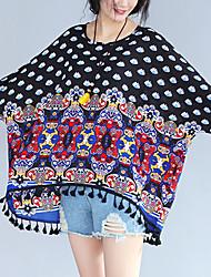 Damen Druck Einfach Lässig/Alltäglich T-shirt,Rundhalsausschnitt Frühling ¾-Arm Blau Baumwolle Acryl Dünn