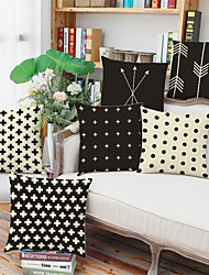 6 pcs Linen Pillow Case,Striped Geometric Polka Dots Euro Modern/Contemporary