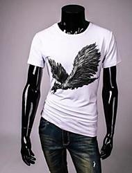 Herren Tierfell-Druck Retro Einfach Ausgehen Lässig/Alltäglich T-shirt,Rundhalsausschnitt Sommer Kurzarm Weiß Seide Dünn