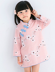 Girl's Print DressPolyester All Seasons Long Sleeve Tang Suit