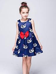 A-line Knee-length Flower Girl Dress - Nylon Taffeta Sleeveless Scoop with Pattern / Print