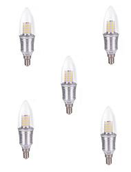 5pcs 6w 600-650lm e14 45xsdm2835 el color blanco fresco llevó las lámparas de la lámpara de las bombillas de la vela ac220-240v